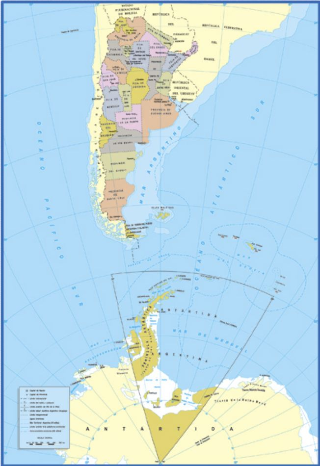 Se busca actualizar la cartografía provincial y que establece la obligatoriedad del uso y difusión del mapa bicontinental de la Provincia.